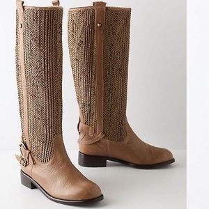 Anthro Schuler&Sons Woven Leather Riding Boot